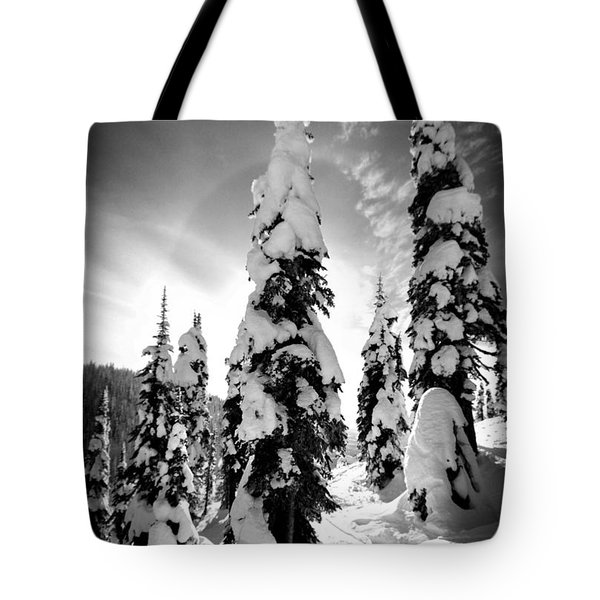 Snow Laden Tree Tote Bag