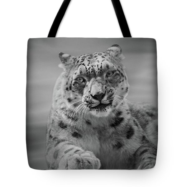 Tote Bag featuring the photograph Snow Leopard  Bw by Sandy Keeton