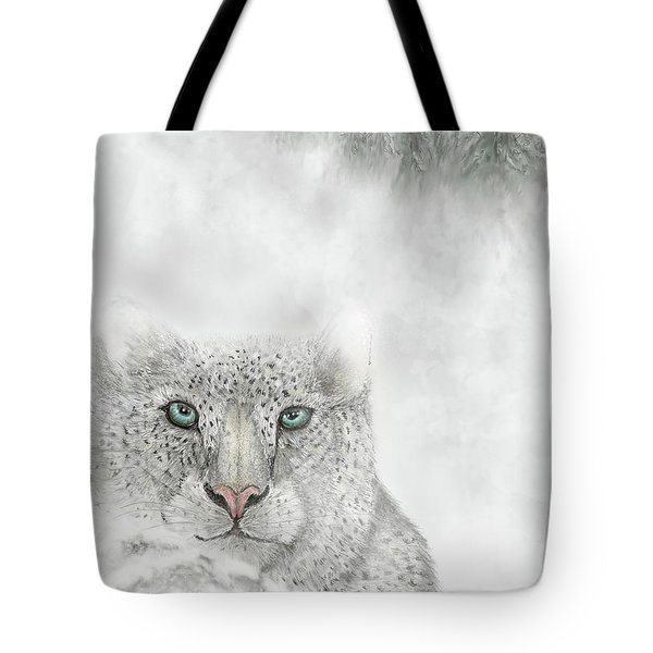 Tote Bag featuring the digital art Snow Leopard by Darren Cannell