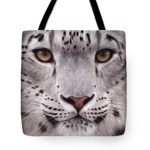 Snow Leopard Face Tote Bag