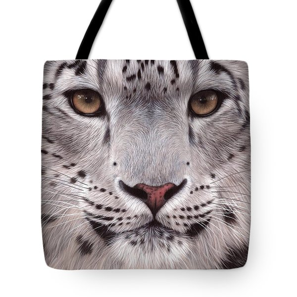Snow Leopard Face Tote Bag