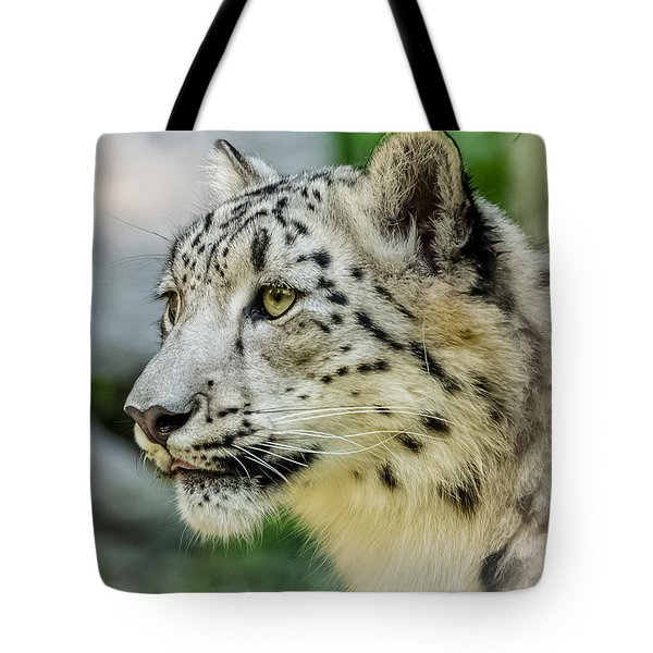 Snow Leopard Portrait Tote Bag by Yeates Photography