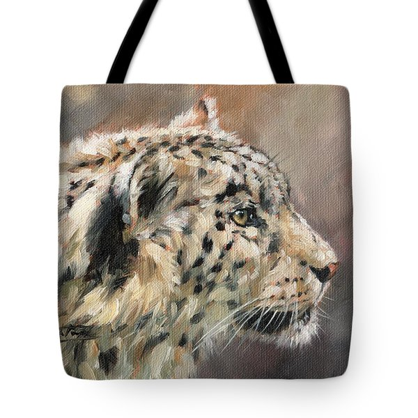 Tote Bag featuring the painting Snow Leopard Study by David Stribbling