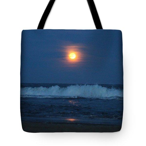 Snow Moon Ocean Waves Tote Bag