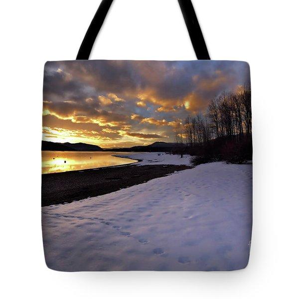 Snow On Beach Tote Bag