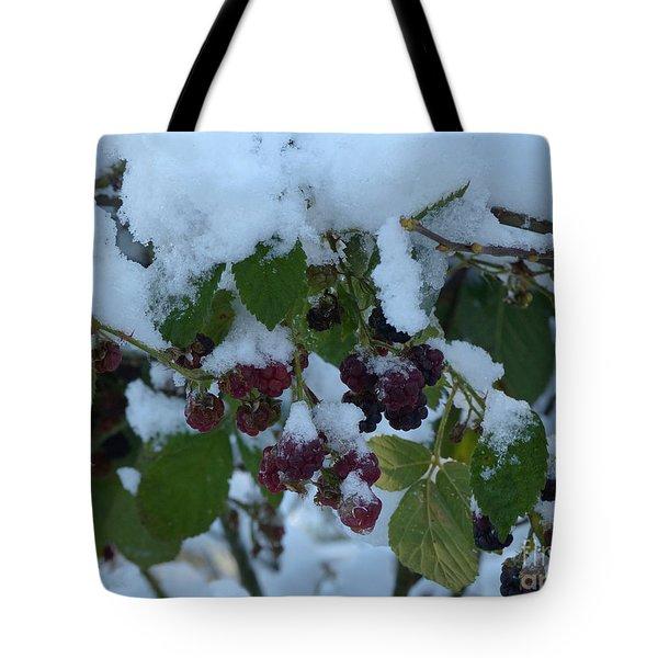 Snow On Blackberries Tote Bag