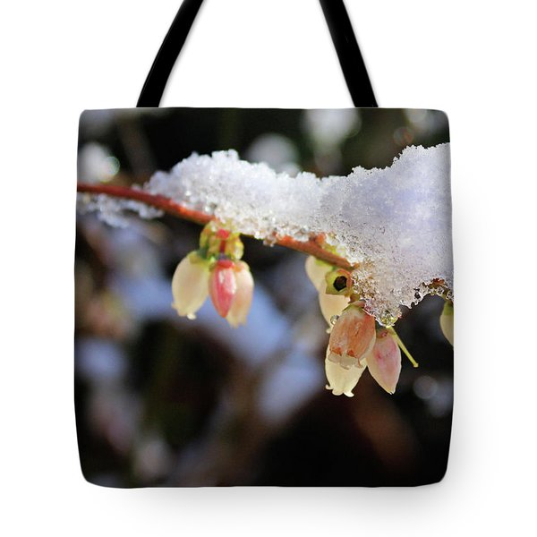 Tote Bag featuring the photograph Snow On Blueberry Blossoms by Kristin Elmquist