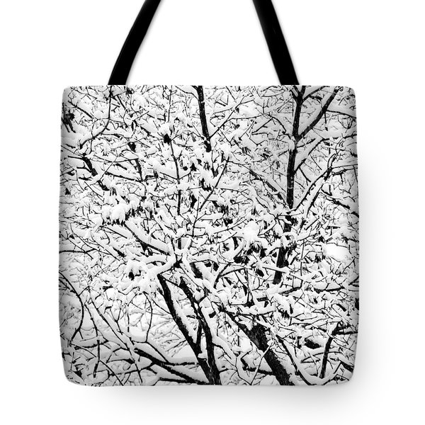 Tote Bag featuring the photograph Snow On Branches by Lars Lentz