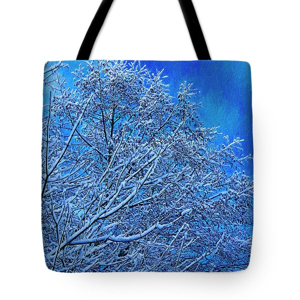 Tote Bag featuring the photograph Snow On Branches Photo Art by Sharon Talson