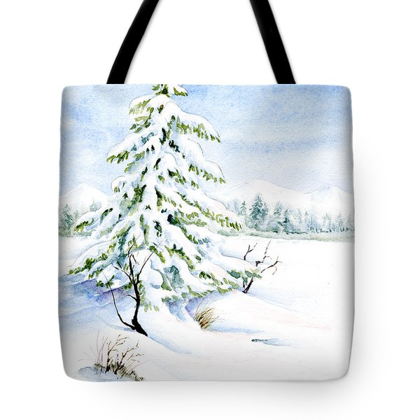 Snow On Evergreens Tote Bag