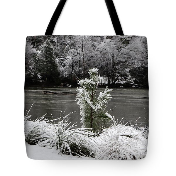 Tote Bag featuring the digital art Snow On Greens by Kathleen Illes