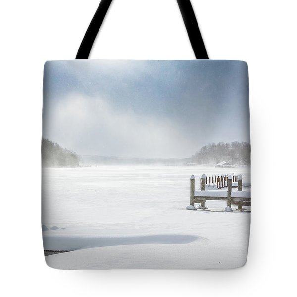 Snow On Lake Charlevoix Tote Bag