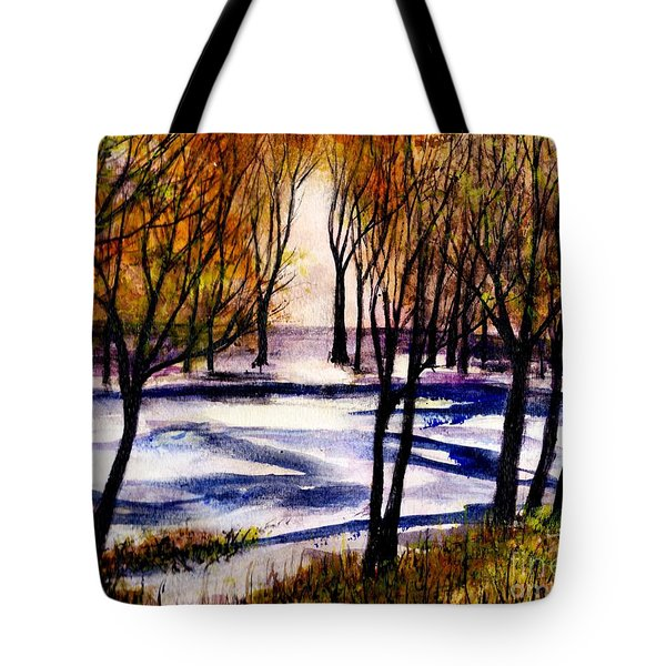 Snow On Lower Pasture Tonight Tote Bag by Randy Sprout