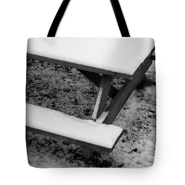 Snow On Picnic Table Tote Bag
