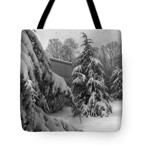 Tote Bag featuring the photograph Snow On Pines by Robert G Kernodle