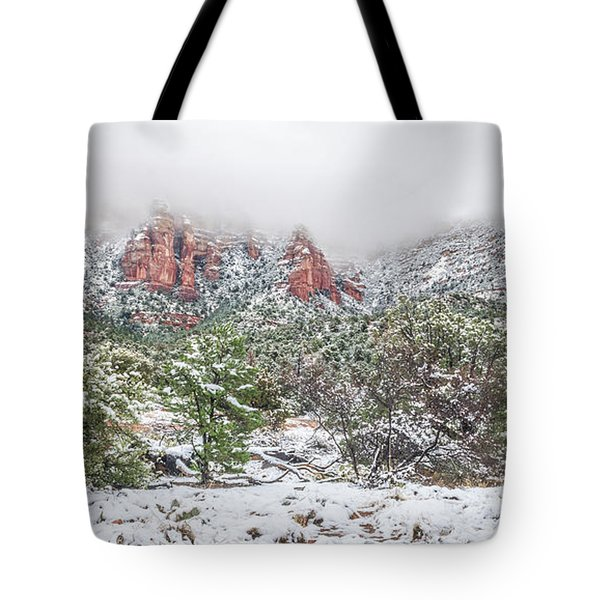 Snow On Red Rock Tote Bag