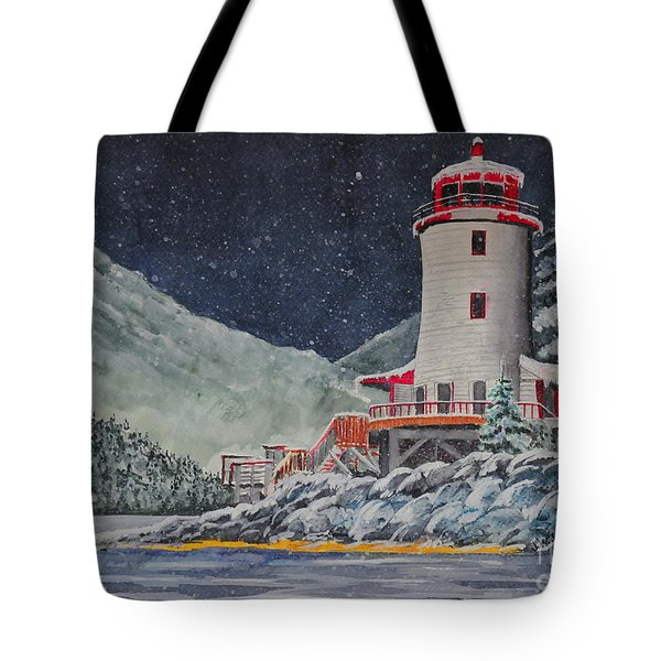 Snow On Sitka Sound Tote Bag