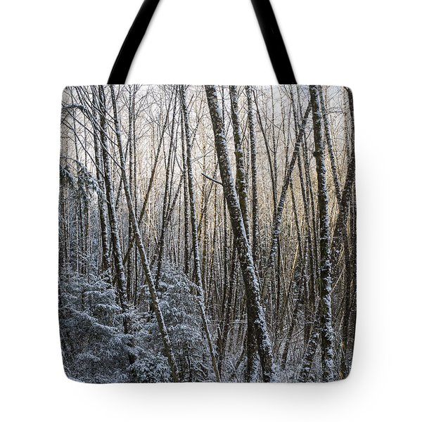 Snow On The Alders Tote Bag