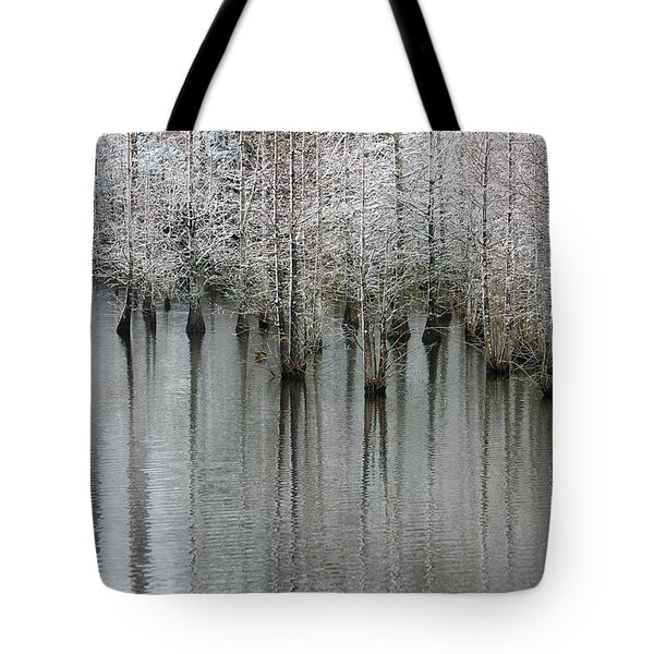 Snow On The Cypresses Tote Bag by Suzanne Gaff