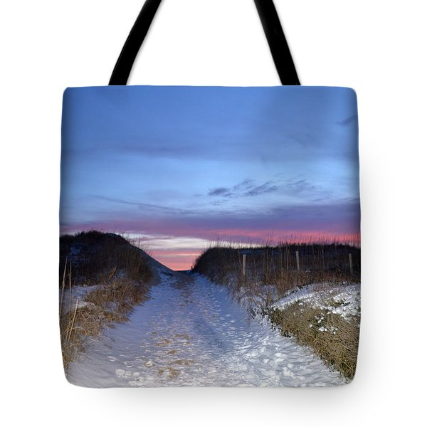 Tote Bag featuring the photograph Snow On The Dunes by Barbara Ann Bell