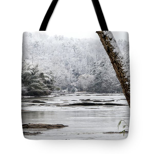 Tote Bag featuring the digital art Snow On The Hooch by Kathleen Illes
