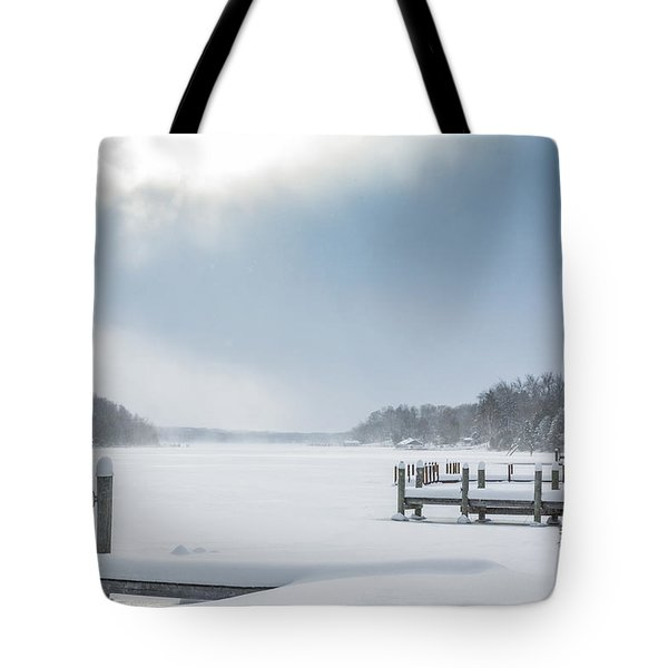 Snow On The Lake Tote Bag