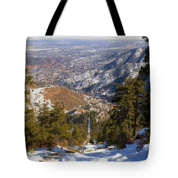 Snow On The Manitou Incline In Wintertime Tote Bag