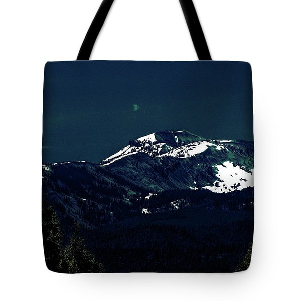 Snow On The Mountain At Night Tote Bag