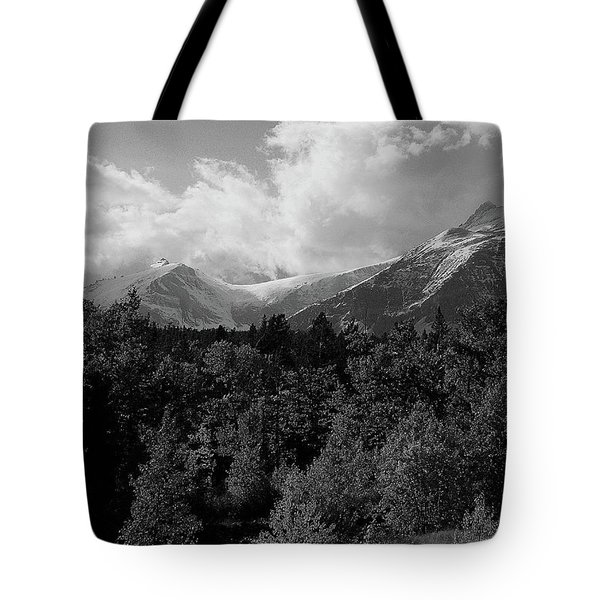 Snow On The Mountains Tote Bag