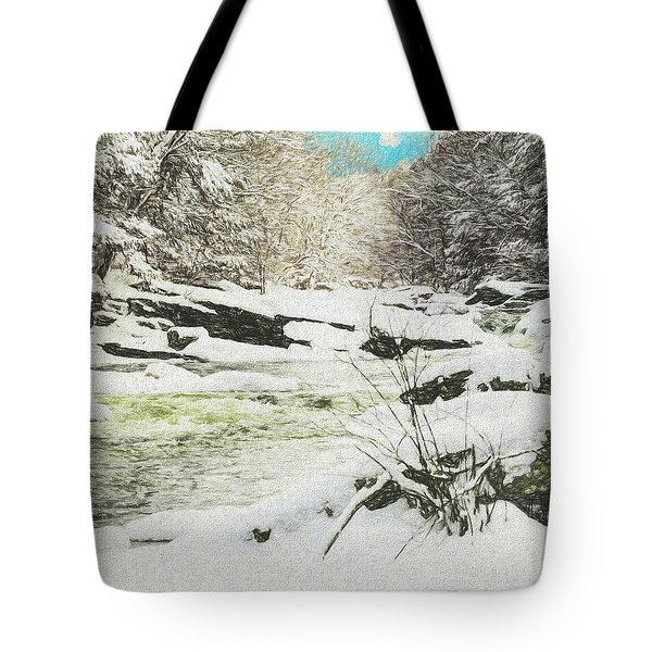Snow On The Natchaug Tote Bag