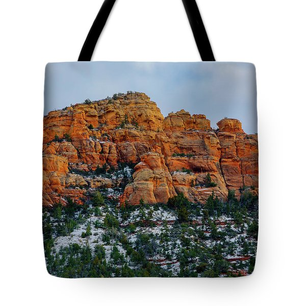 Snow On The Red Rocks Tote Bag by Jon Burch Photography
