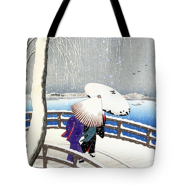 Snow On Willow Bridge By Koson Tote Bag