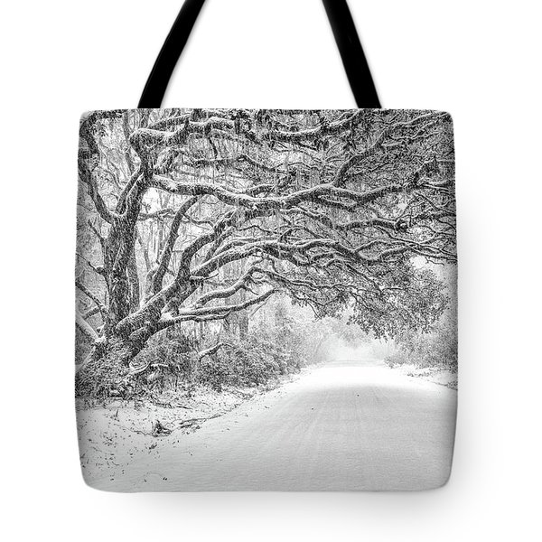 Snow On Witsell Rd - Oak Tree Tote Bag