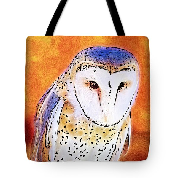 Tote Bag featuring the digital art White Face Barn Owl by Tracie Kaska