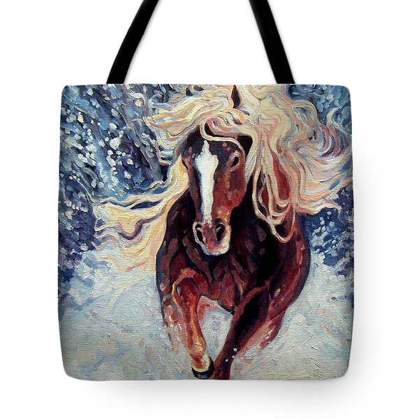 Snow Pony Tote Bag by Gill Bustamante