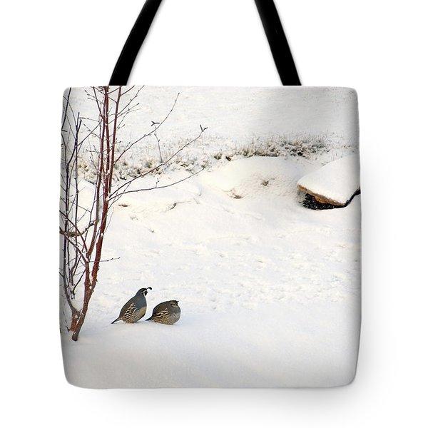 Snow Quail Tote Bag