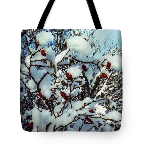 Snow Rosehips Tote Bag