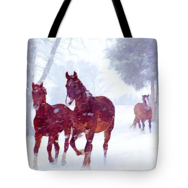 Snow Run Tote Bag