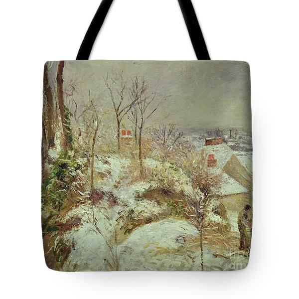 Snow Scene Tote Bag by Camille Pissarro