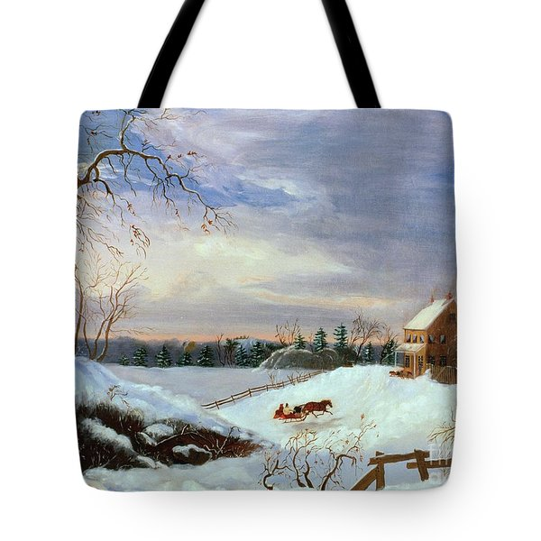 Snow Scene In New England Tote Bag by American School