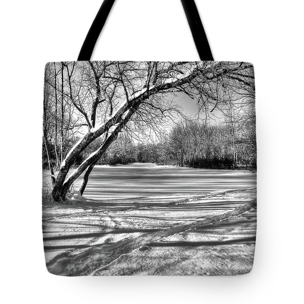 Snow Scripting Tote Bag