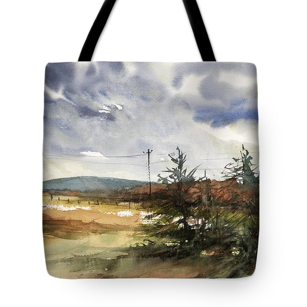 Snow Sky In Fall Tote Bag