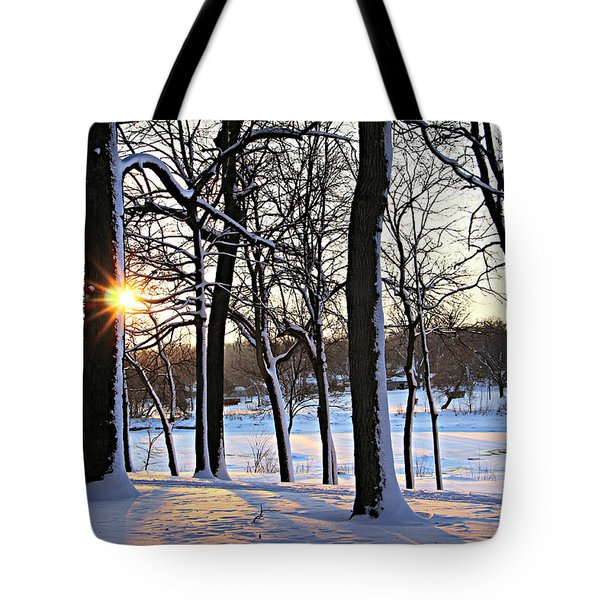Snow Starred Grove Tote Bag by Kathy M Krause