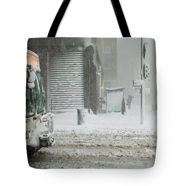 Tote Bag featuring the photograph Snow Storm Bus Stop by Stephen Holst