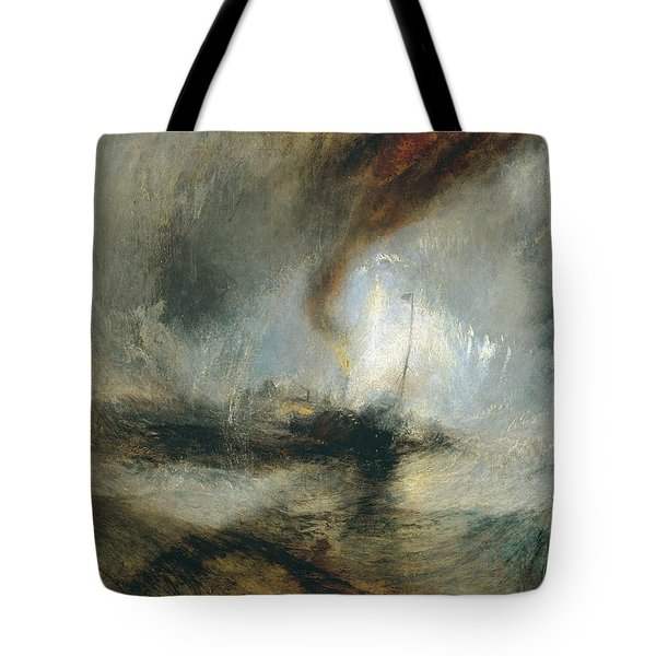Tote Bag featuring the painting Snow Storm by Joseph Mallord William Turner