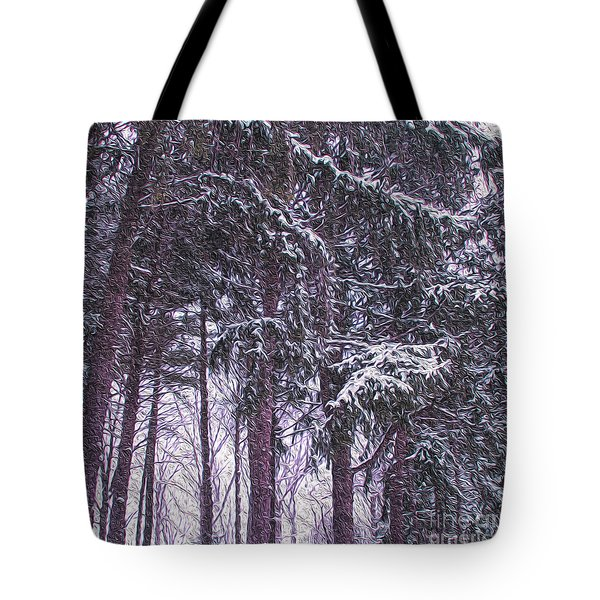 Snow Storm On Pines Tote Bag by Sandy Moulder