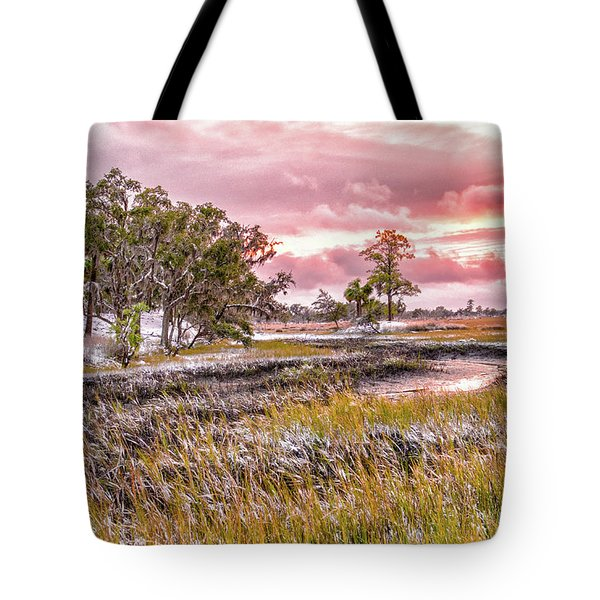 Snow Sunset -marsh View Tote Bag