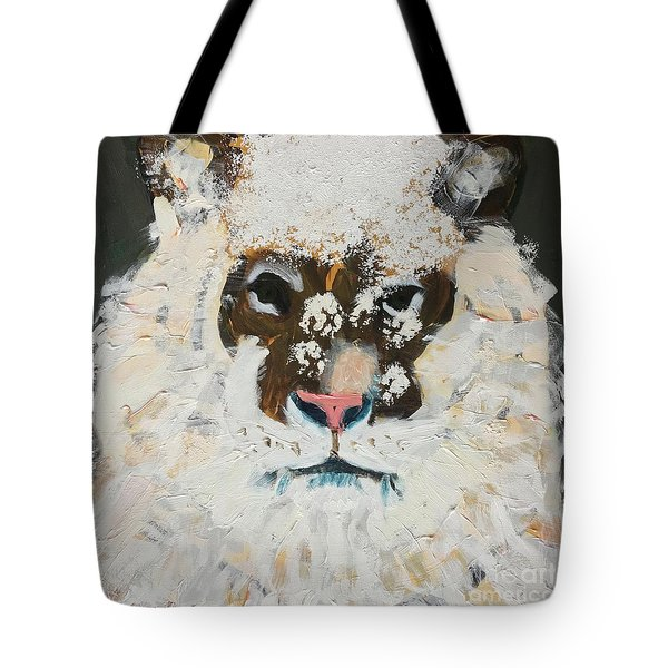 Tote Bag featuring the painting Snow Tiger by Donald J Ryker III