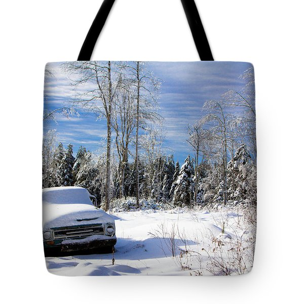 Snow Truck Tote Bag