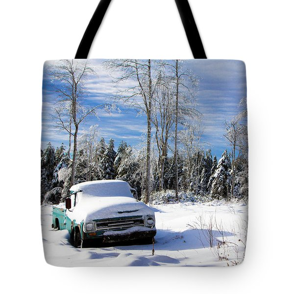 Snow Truck Tote Bag